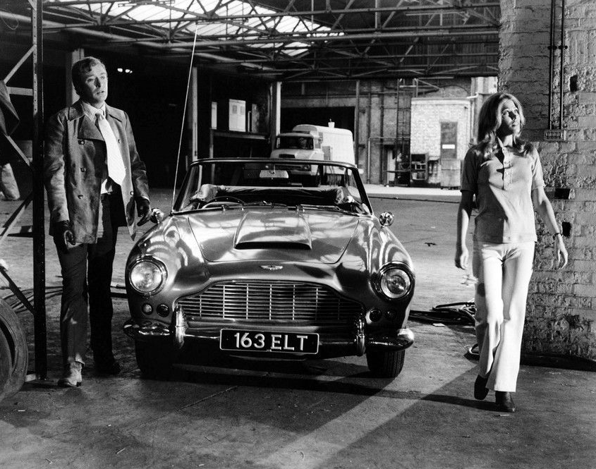 Hazel Collinson with Michael Caine and the Aston Martin DB4 Convertible